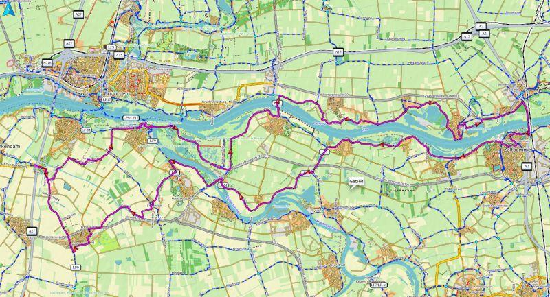 Waalroute van A27 PTol Werkendam naar Zaltbommel en terug 73 Km GPX