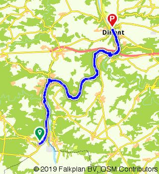 Van Hastière naar Dinant, EuroVelo 19 - La Meuse à vélo(stap 1)