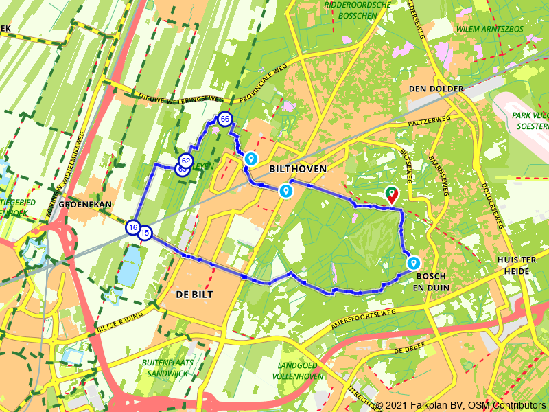 Rondje Bilthoven en Bosch en Duin