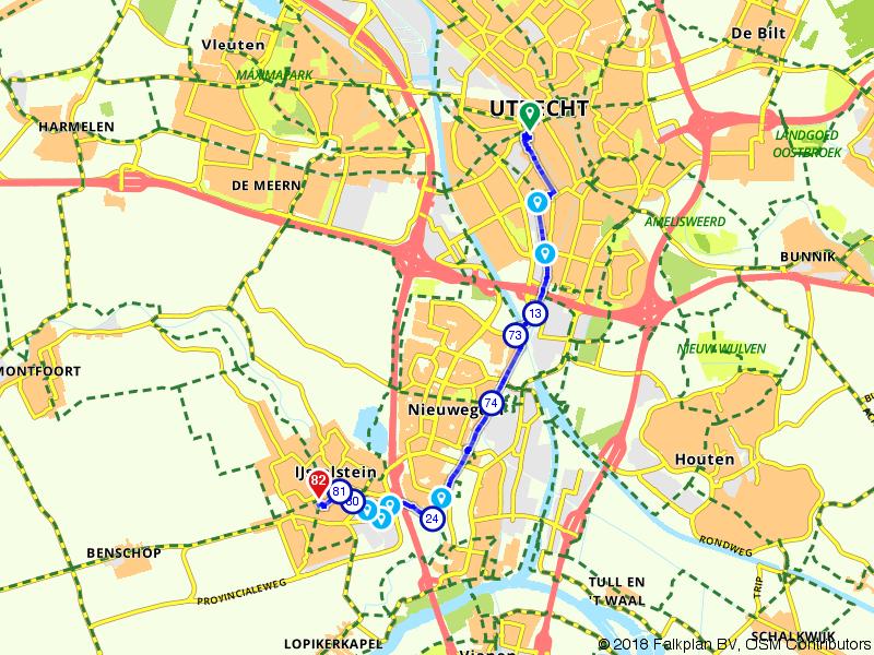 Fietsroute Utrecht CS naar IJsselstein Stadhuis langs de Hollandse IJssel