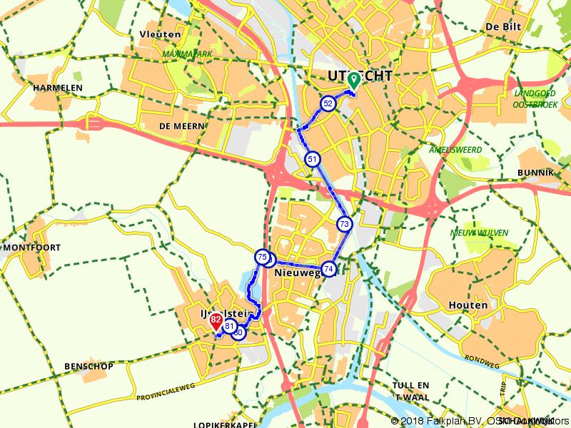 Fietsroute Utrecht CS naar IJsselstein Stadhuis via de Nedereindse Plas