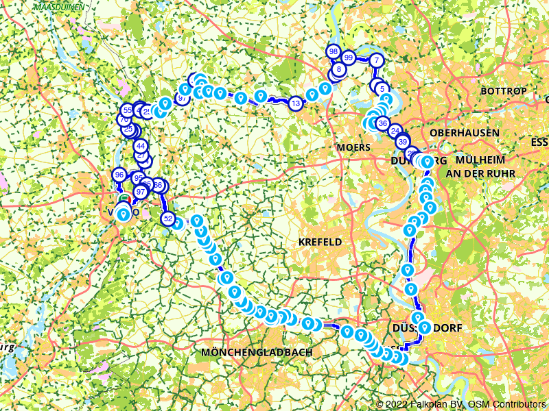 Maas - Rijn Route (3 dagen; Maasroute Eurovelo 19, Fossa Eugeniana, Rijnroute Eurovelo 15, Noordervaart route)
