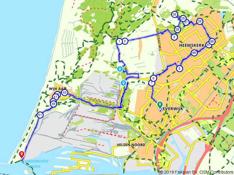 Van Beverwijk naar Velsen-Noord via Heemskerk