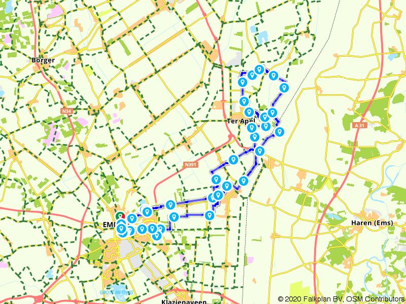 Drentse Fiets4Daagse - Fietsroute 60 km
