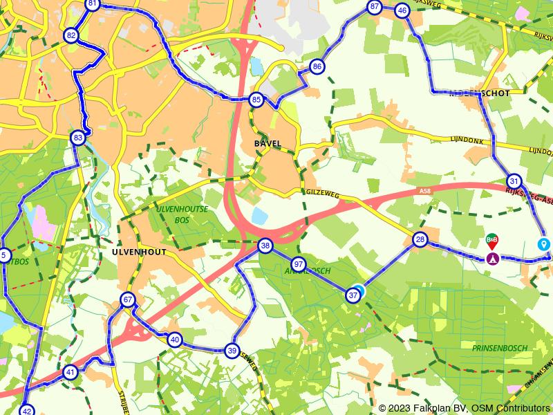Fietstocht rondom Breda door stad en bos
