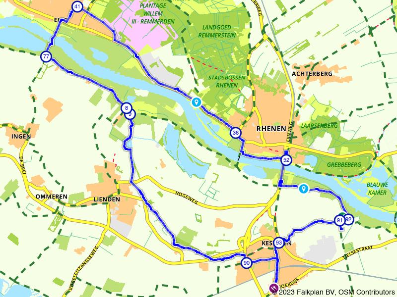 Langs de oevers van Neder-Rijn fietsen