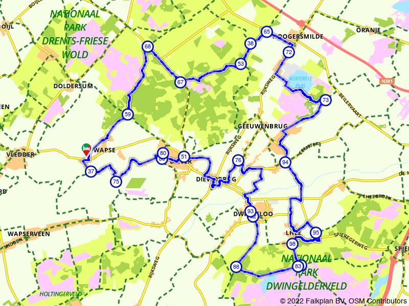 Rondje Wapse, Blauwe meer en Dwingeloo