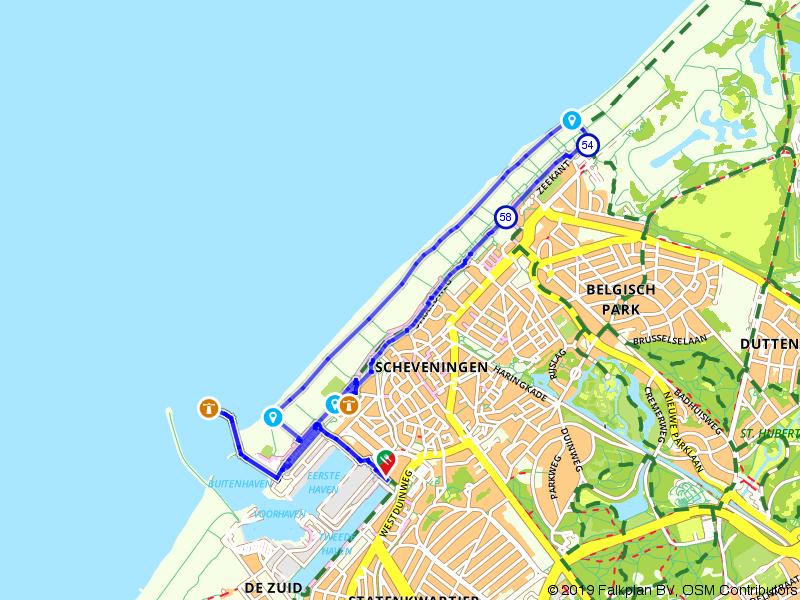 Vuurtorenroute over het strand van Scheveningen