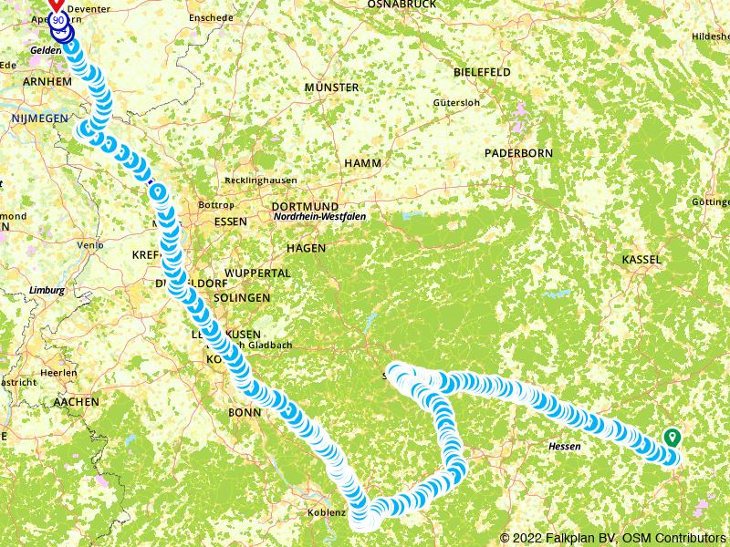 Route van Fulda naar Apeldoorn,