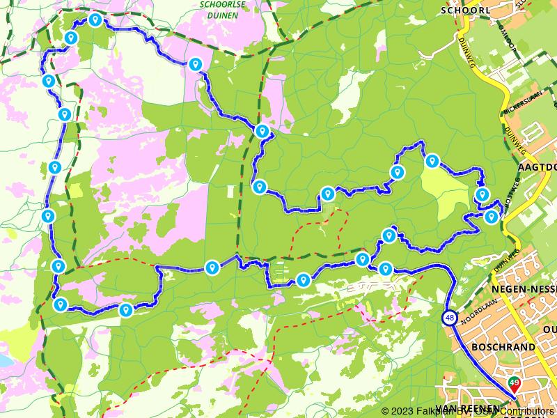 Mountainbikeroute Schoorlse Duinen vanuit Bergen