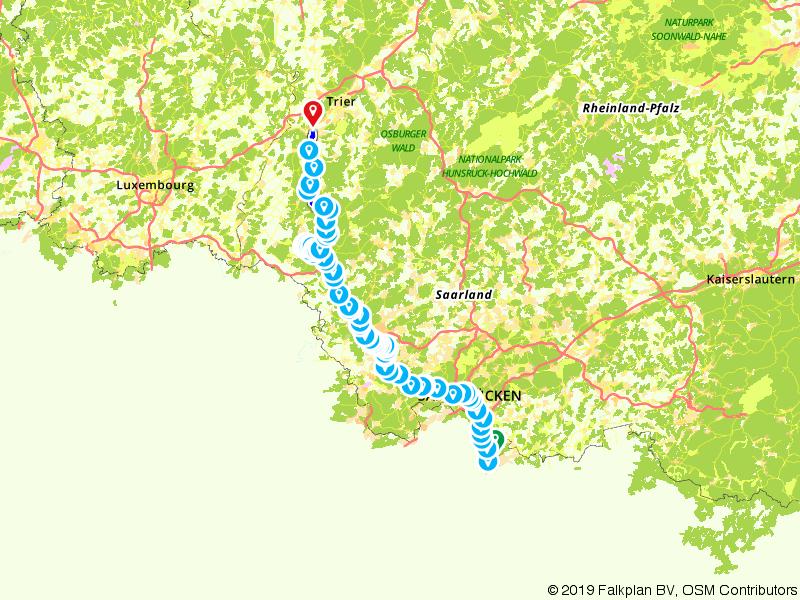 Saarfietsroute Van Saarbrücken naar Trier