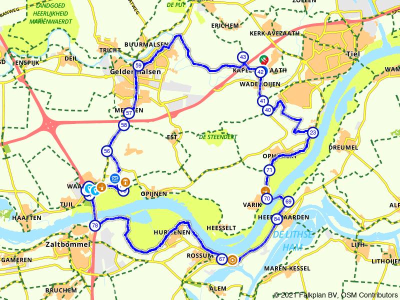 Historische route langs de Waal