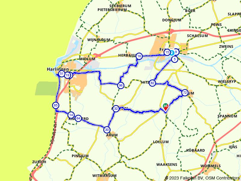 Tzjom, Franeker, Harlingen en Achlum
