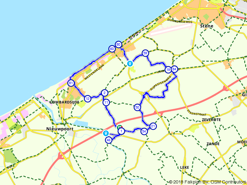 Langs de kust bij Westende en Middelkerke