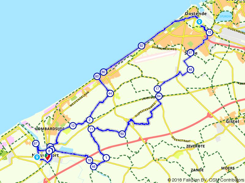 Van Nieuwpoort langs de kust naar Oostende
