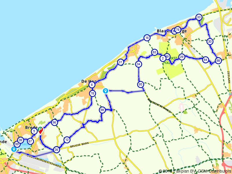 Langs de kust tussen Oostende en Blankenberge