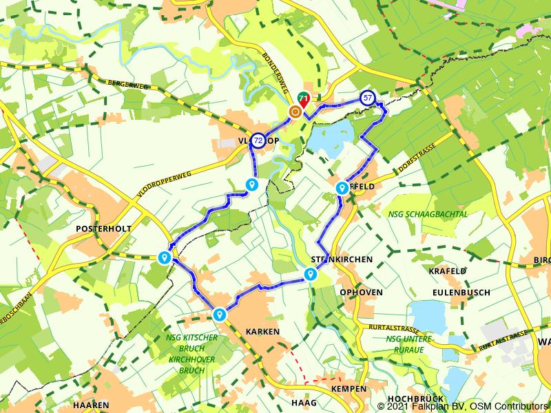 Bosrijke route over de grens met Duitsland