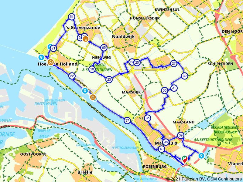 Langs de Nieuwe Waterweg en de kassen van het Westland