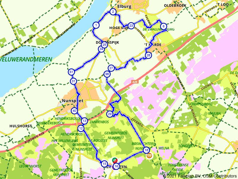Fietsen over de Veluwe langs Elburg, Nunspeet en Vierhouten
