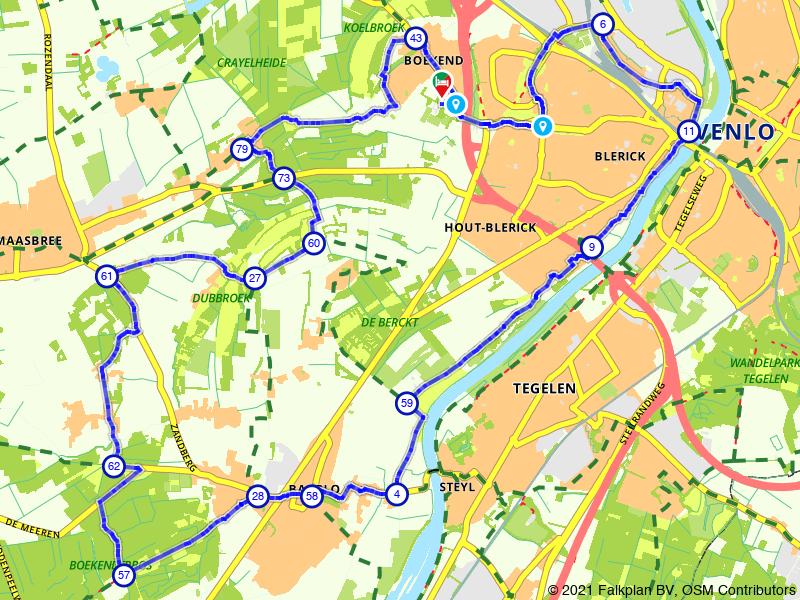 E-choppertour Maashof | Maasbree | Baarlo | kort