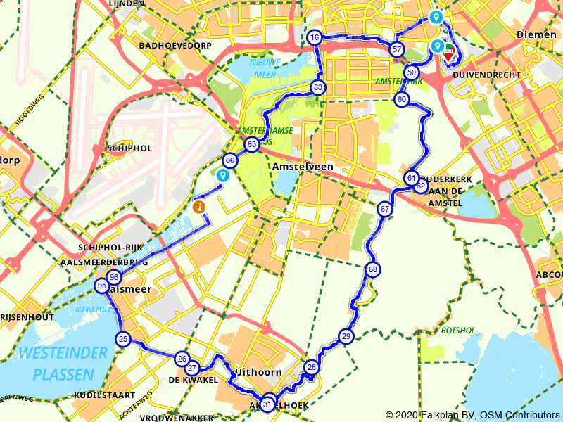 Amstel en Amsterdamse Bos op de fiets