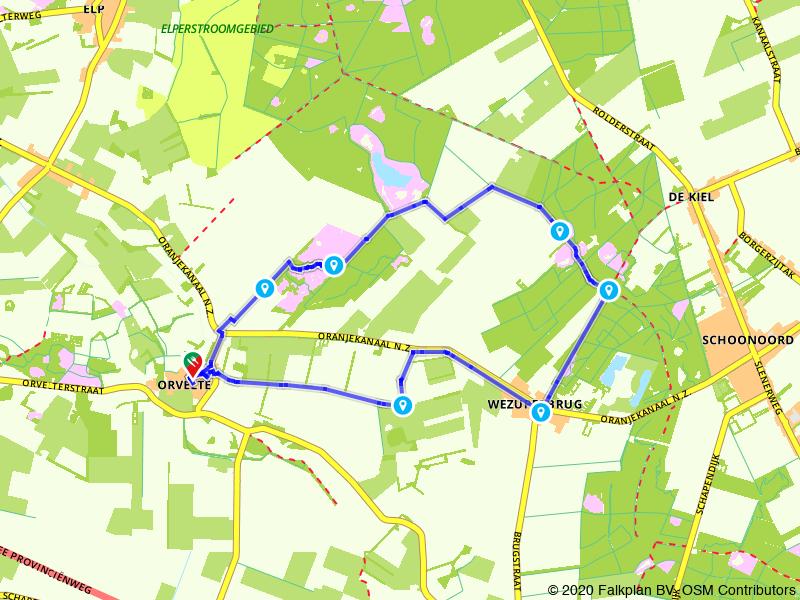 Rondje Woldring's Meertje en Wezuperbrug vanuit Orvelte