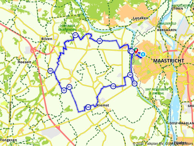 Route Veldwezelt, Rijkhoven en Herderen (BE)