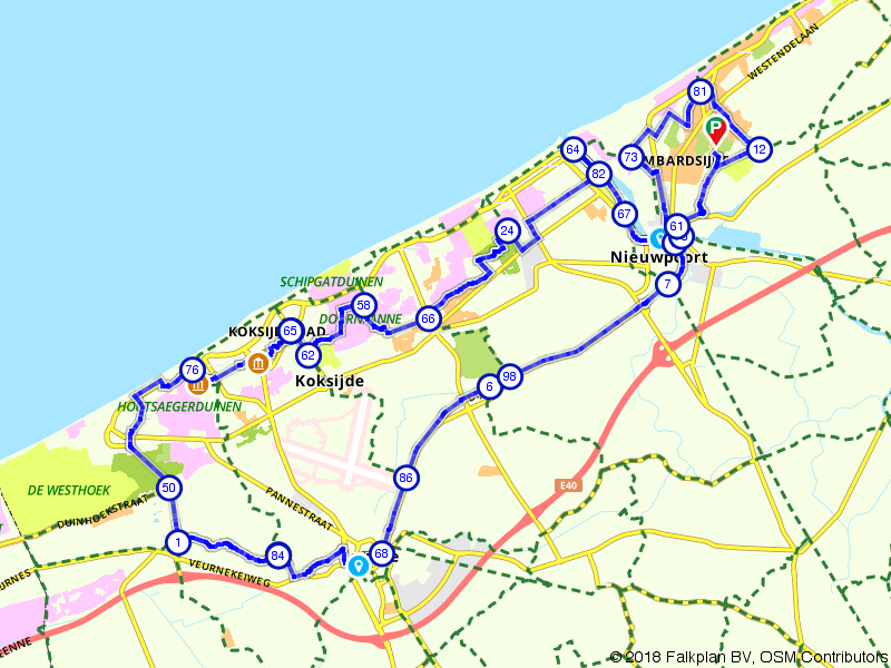 Verken België aan de kust van plaats naar plaats