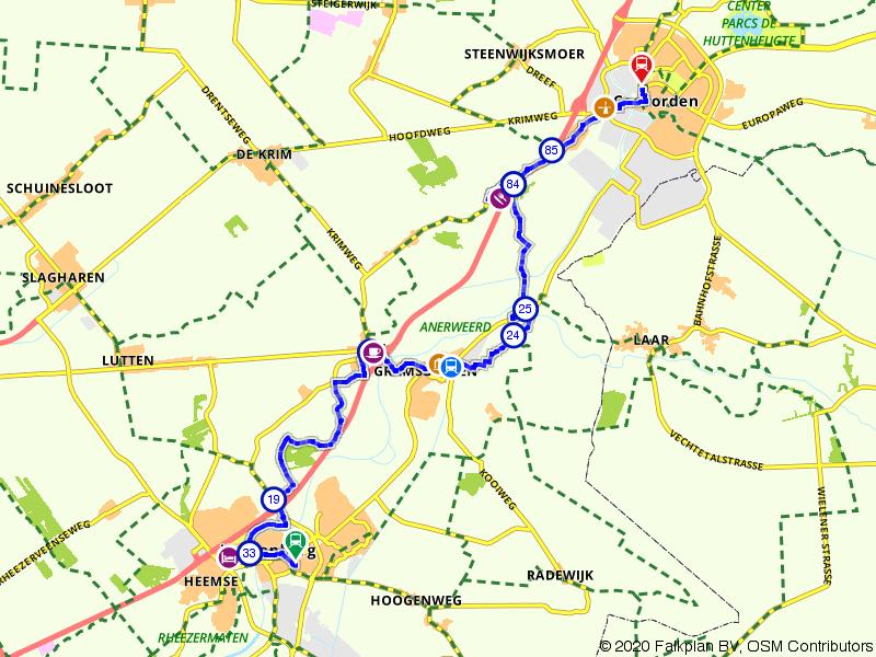 Van Hardenberg via Gramsbergen naar Coevorden