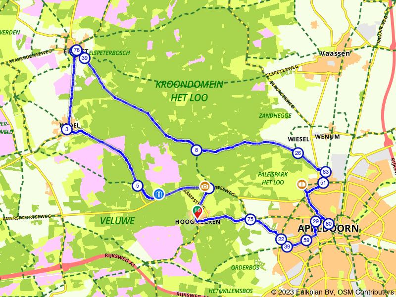Route rond Paleis Het Loo en Het Aardhuis