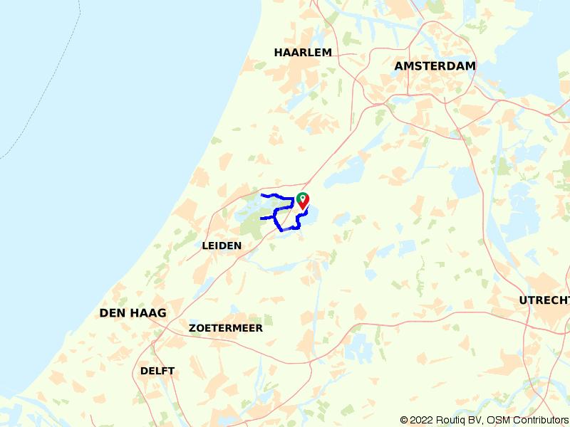 Kaagroute vanaf TOP Roelofarendsveen (kort)