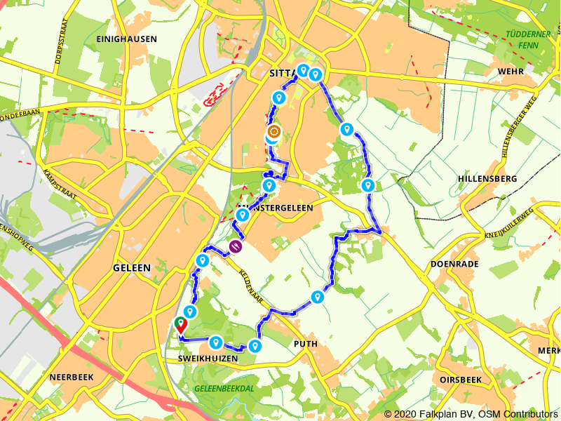 Wandelroute vanuit de Biesenhof naar de historische binnenstad van Sittard