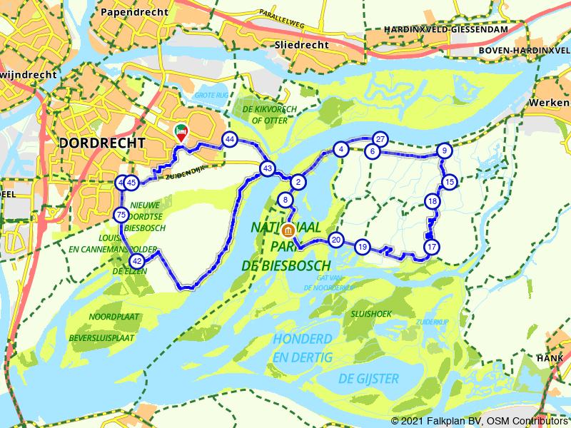 Vanuit Dordrecht de Biesbosch door