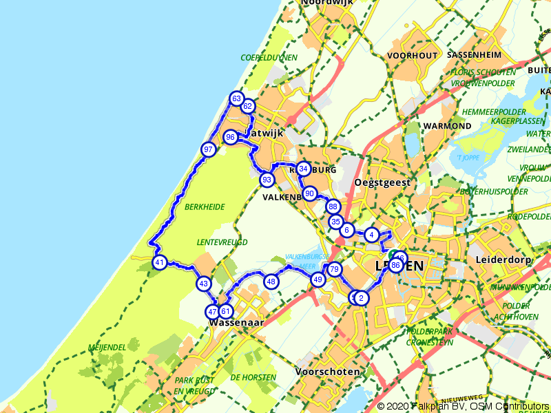 Duin en zeeroute: Leiden, Wassenaar en Katwijk